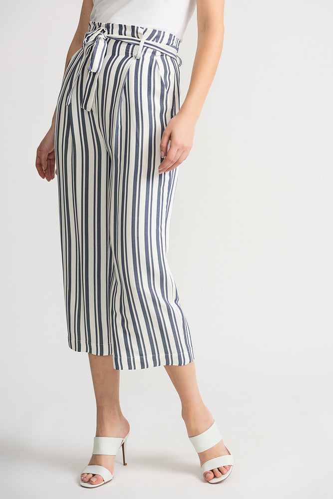 Joseph Ribkoff Style 202102 Off-White Blue Striped Belted Cropped Wide Leg Pants