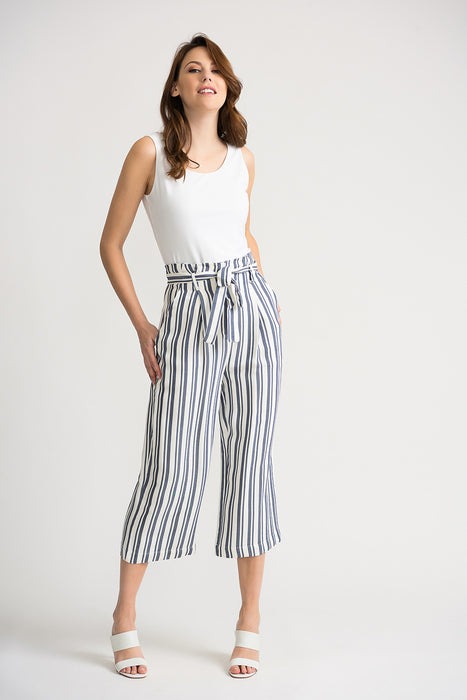 Joseph Ribkoff Off-White/Blue Striped Belted Cropped Wide Leg Pants 202102 NEW