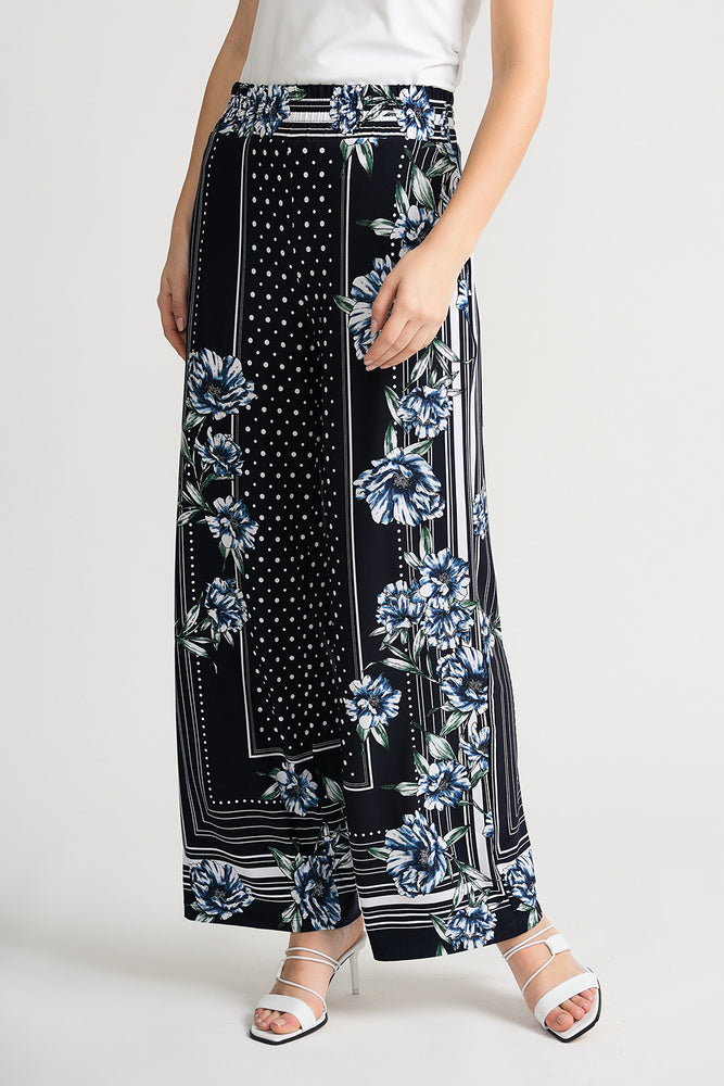Joseph Ribkoff Style 202106 Midnight Blue Multicolor Floral Striped Polka Dot Wide Leg Pants