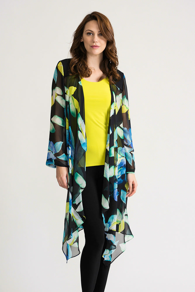 Joseph Ribkoff Style 202109 Black Multicolor Sheer Floral Print Open Front Cardigan