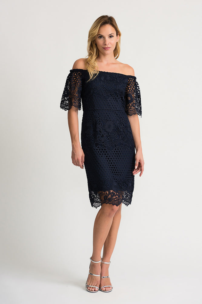 Joseph Ribkoff Style 202117 Midnight Blue Crochet Overlay Off-Shoulder Sheath Dress