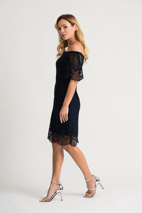 Joseph Ribkoff Midnight Blue Crochet Overlay Off-Shoulder Sheath Dress 202117 NEW