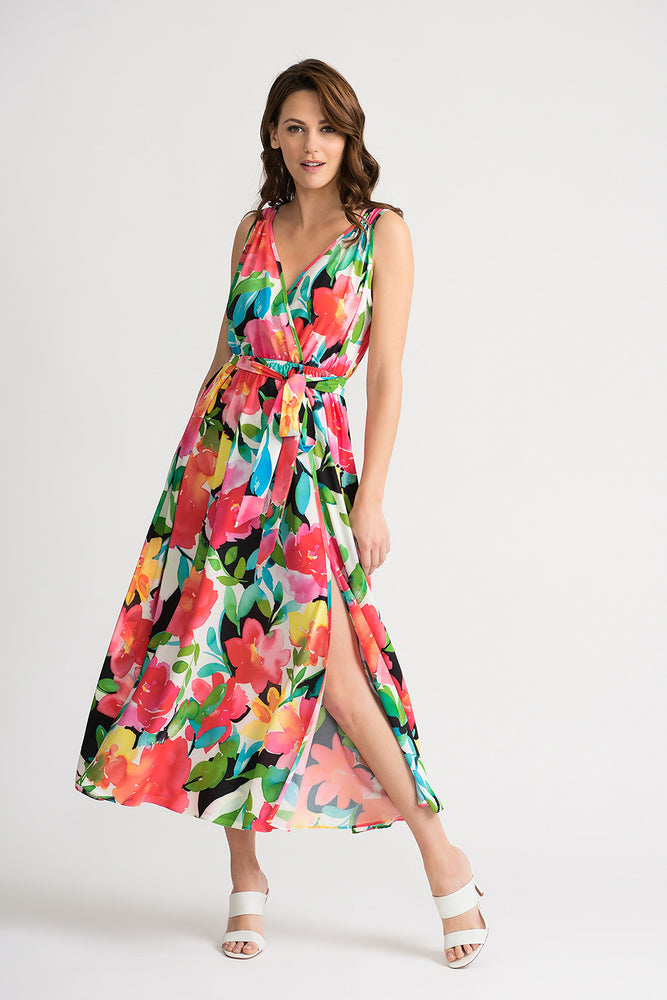 Joseph Ribkoff Style 202120 Multicolor Floral Print Sleeveless Belted Mock-Wrap Maxi Dress