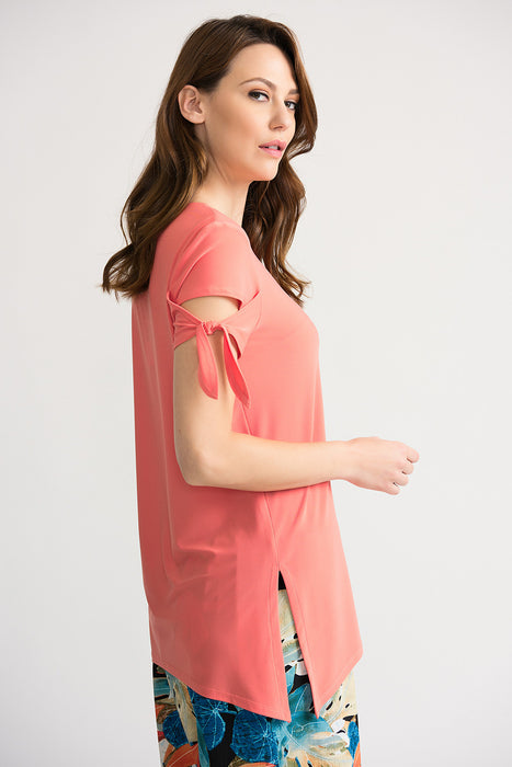 Joseph Ribkoff Cantaloupe Tie Sleeve High-Low Hem Tunic Top 202137 NEW