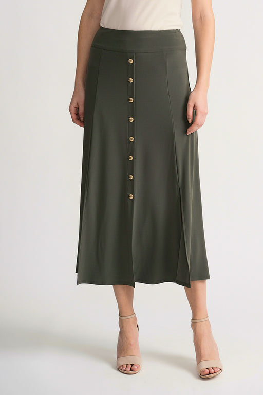 Joseph Ribkoff Style 202157 Avocado Button Accents Slit Detail Midi Skirt