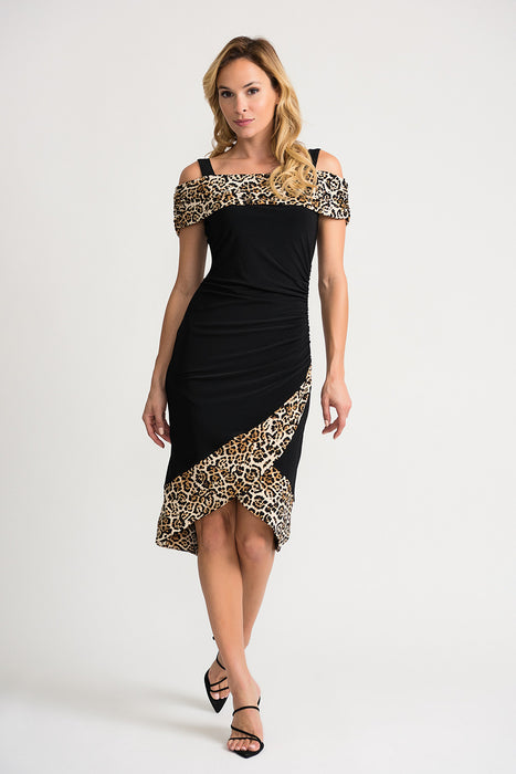 Joseph Ribkoff Style 202161 Beige Black Animal Print Ruched Off-Shoulder Midi Dress