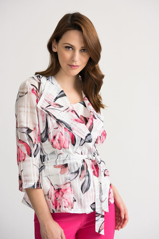 Joseph Ribkoff Style 202165 Off-White Multicolor Floral Print Twin Set Jacket