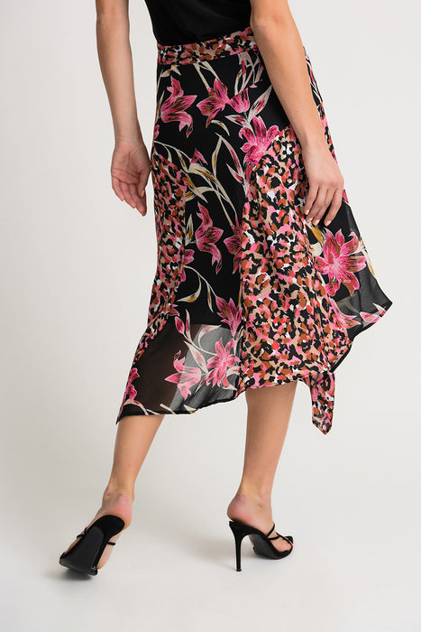 Joseph Ribkoff Black/Multi Floral Watercolor Print Asymmetric Hem Midi Skirt 202174 NEW