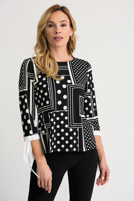 Joseph Ribkoff Style 202183 Black Vanilla Blocked Polka Dot 3/4 Sleeve Layered Blouse