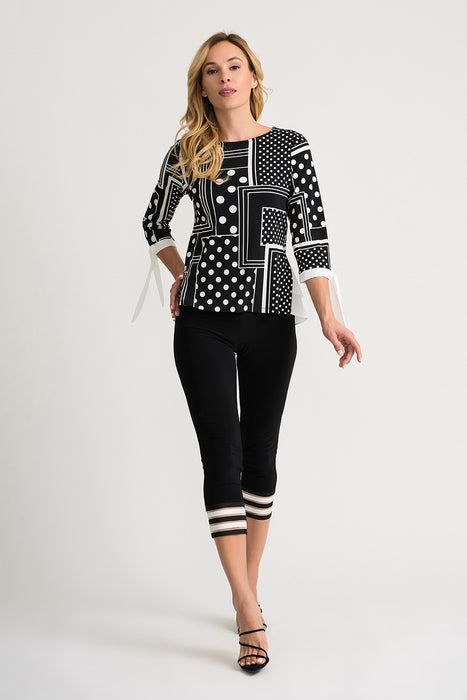 Joseph Ribkoff Black/Vanilla Blocked Polka Dot 3/4 Sleeve Layered Blouse 202183 NEW