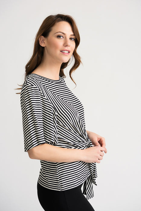 Joseph Ribkoff Black/White Striped Knot Front Bell Sleeve Blouse 202190 NEW