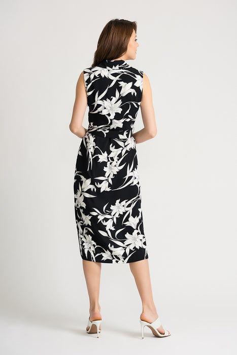 Joseph Ribkoff Black/Vanilla Floral Print Belted Wrap Midi Dress 202234 NEW