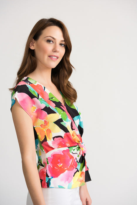 Joseph Ribkoff Multi Floral Print Ruched Front Blouse 202241 NEW
