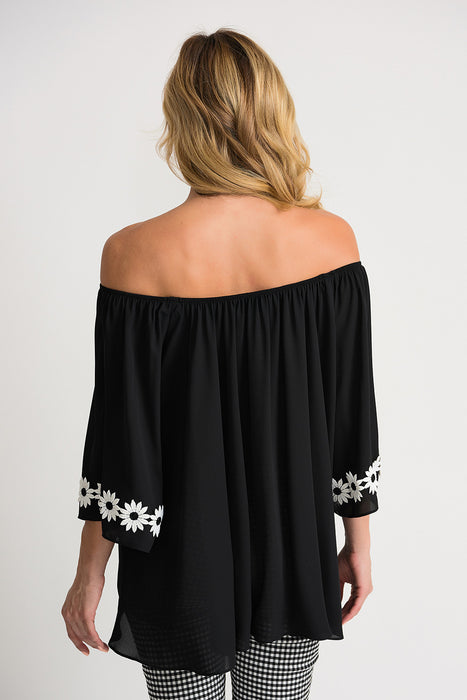 Joseph Ribkoff Black Floral Applique Off-Shoulder Ruffled Top 202247 NEW