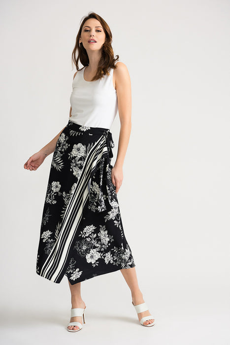 Joseph Ribkoff Black/Vanilla Floral Striped Wrap Midi Skirt 202256 NEW
