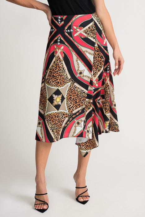 Joseph Ribkoff Style 202257 Papaya Multicolor Baroque Animal Print Kerchief Hem Midi Skirt