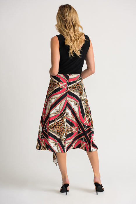 Joseph Ribkoff Papaya/Multi Baroque Animal Print Kerchief Hem Midi Skirt 202257 NEW