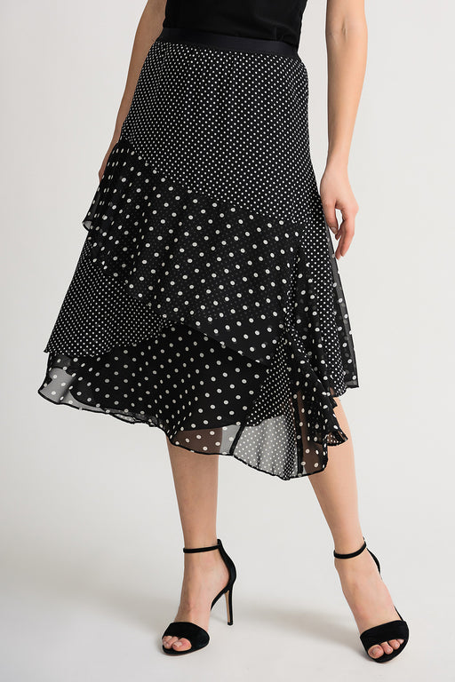 Joseph Ribkoff Style 202258 Black White Polka Dot Tiered Midi Skirt