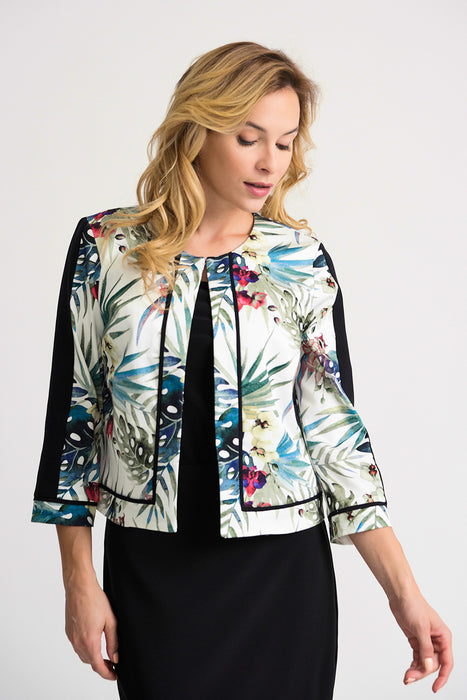 Joseph Ribkoff Style 202259 White/Multicolor Floral Print 3/4 Sleeve Cover-Up Jacket