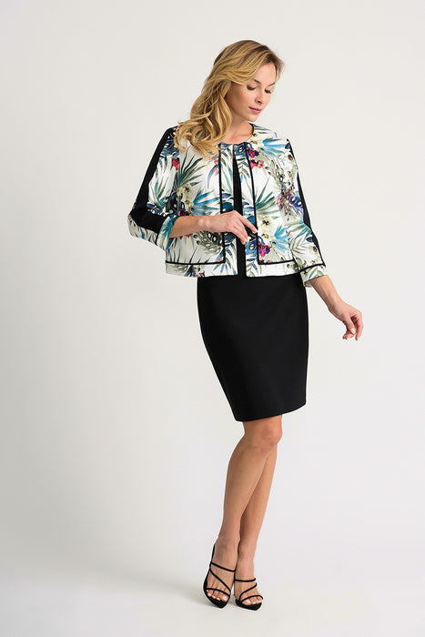 Joseph Ribkoff White/Multi Floral Print 3/4 Sleeve Cover-Up Jacket 202259 NEW