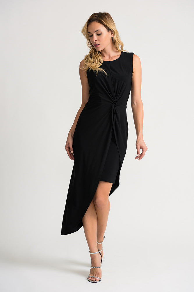 Joseph Ribkoff Style 202264 Black Ruched Sleeveless Asymmetric Sheath Dress