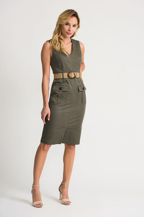 Joseph Ribkoff Style 202273 Avocado Green Military-Inspired Belted Sheath Dress