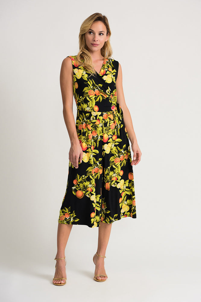 Joseph Ribkoff Style 202286 Black Multicolor Citrus Print Sleeveless Cropped Palazzo Jumpsuit