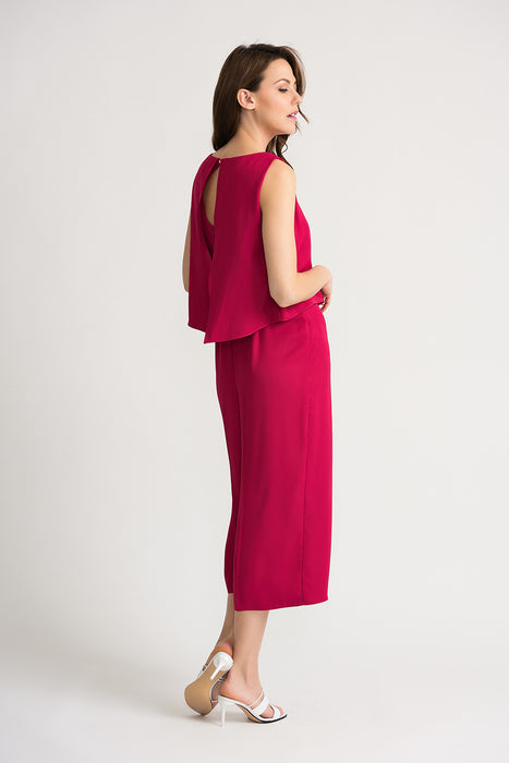 Joseph Ribkoff Fuchsia Sleeveless Layered Wide Leg Cropped Jumpsuit 202287 NEW