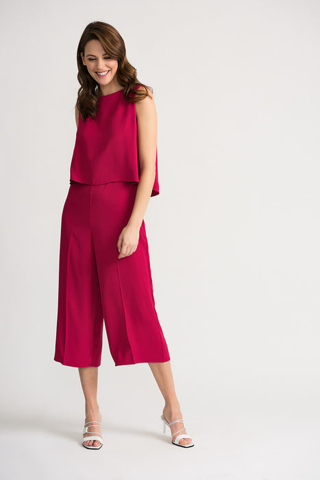 Joseph Ribkoff Style 202287 Fuchsia Sleeveless Layered Wide Leg Cropped Jumpsuit