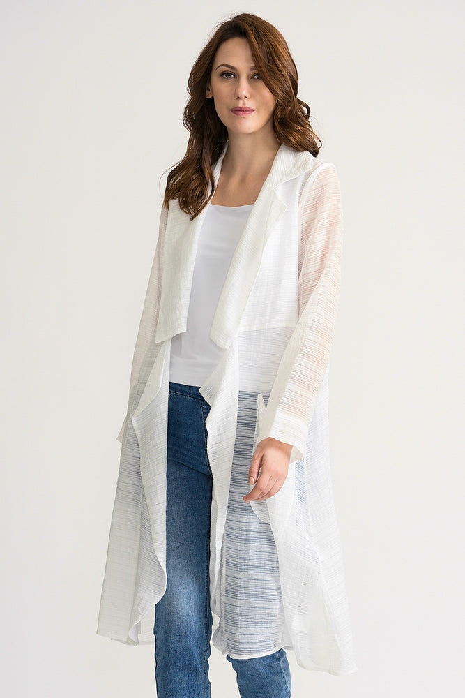 Joseph Ribkoff Style 202295 White Semi-Sheer Open Front Long Cardigan