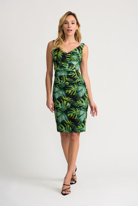 Joseph Ribkoff Style 202302 Black Green Multicolor Tropical Print Ruched Sheath Dress