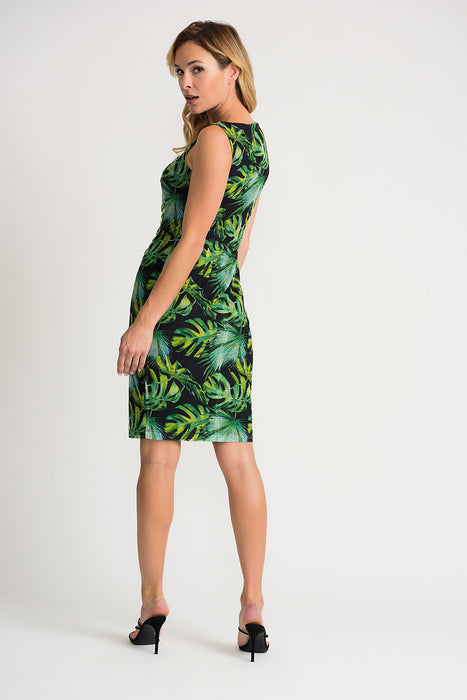Joseph Ribkoff Black/Green/Multi Tropical Print Ruched Sheath Dress 202302 NEW