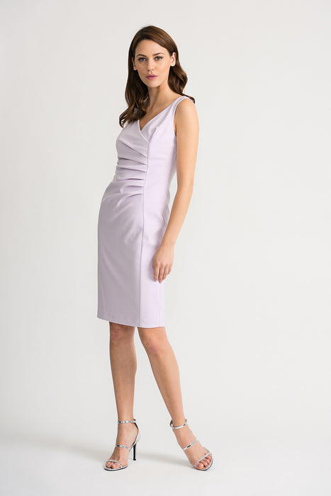 Joseph Ribkoff Style 202303 Lavender Fog V-Neck Ruched Sleeveless Sheath Dress