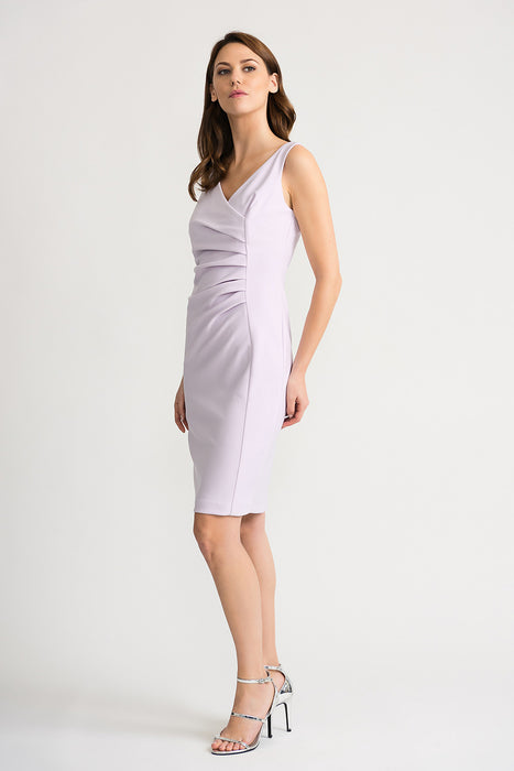 Joseph Ribkoff Lavender Fog V-Neck Ruched Sleeveless Sheath Dress 202303 NEW