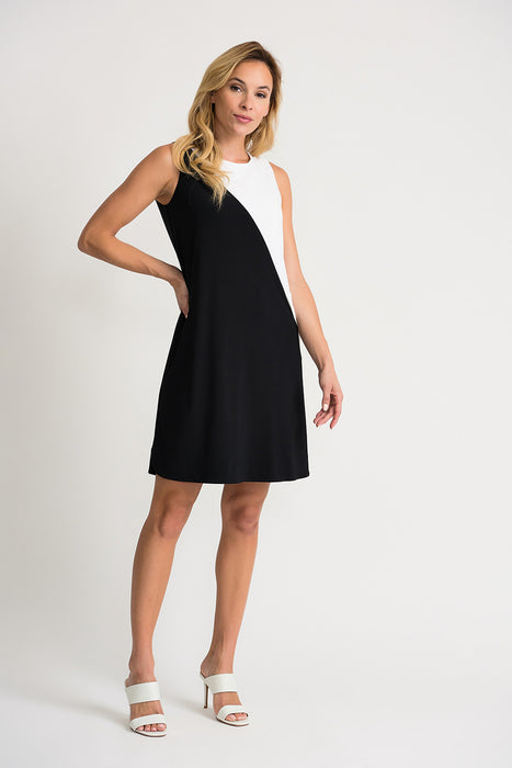Joseph Ribkoff Style 202305 Black Vanilla Asymmetric Color Block Sleeveless Shift Dress