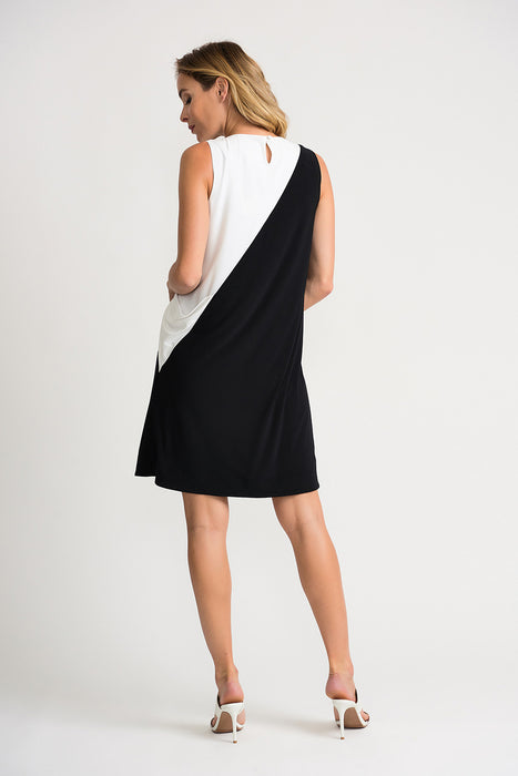 Joseph Ribkoff Black/Vanilla Asymmetric Color Block Sleeveless Shift Dress 202305 NEW