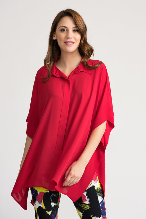 Joseph Ribkoff Style 202328 Lipstick Red Button-Down Kerchief Hem Oversized Shirt