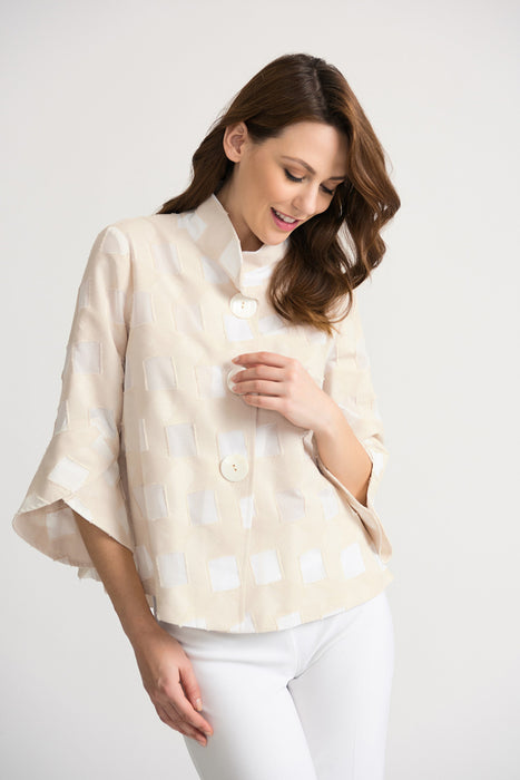 Joseph Ribkoff Style 202332 Beige Off-White Square Cutout Tulip Sleeve Cover-Up Jacket