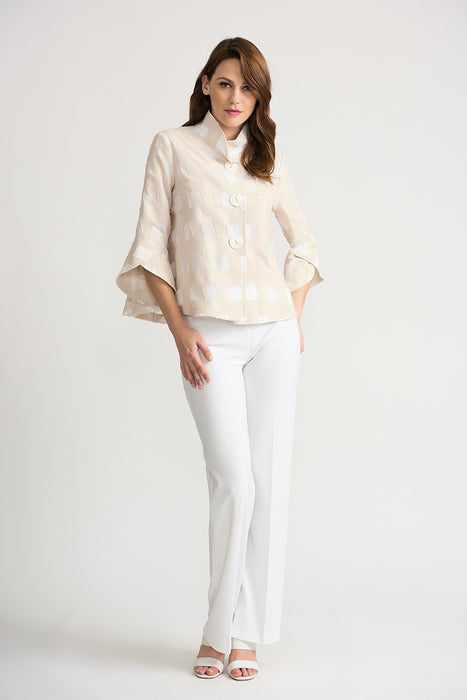 Joseph Ribkoff Beige/Off-White Square Cutout Tulip Sleeve Cover-Up Jacket 202332 NEW