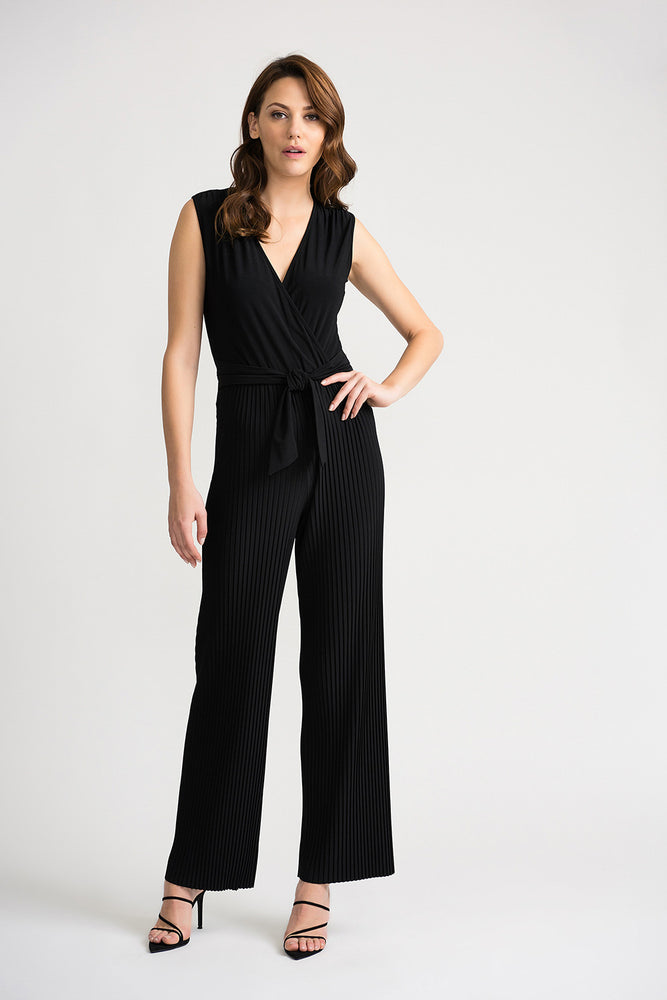 Joseph Ribkoff Style 202336 Black V-Neck Sleeveless Pleated Wide Leg Jumpsuit