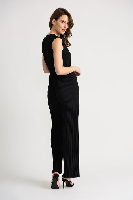 Joseph Ribkoff Black V-Neck Sleeveless Pleated Wide Leg Jumpsuit 202336 NEW