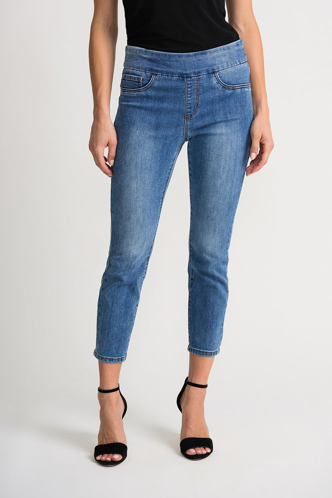 Joseph Ribkoff Style 202338 Denim Medium Blue Skinny Slip-On Cropped Jeans