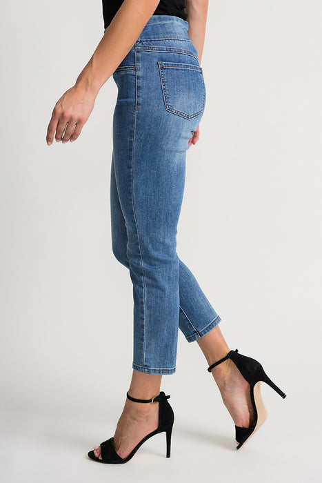 Joseph Ribkoff Denim Medium Blue Skinny Slip-On Cropped Jeans 202338 NEW