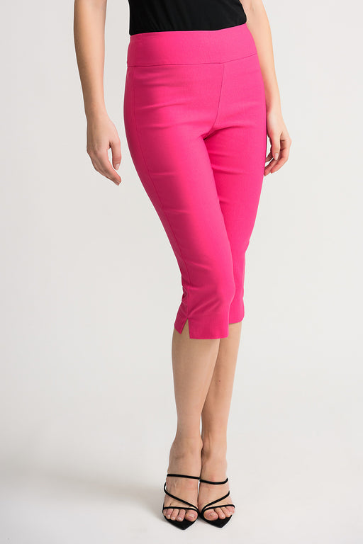 Joseph Ribkoff Style 202350 Hyper Pink Side Slit Straight Leg Slip-On Capri Pants