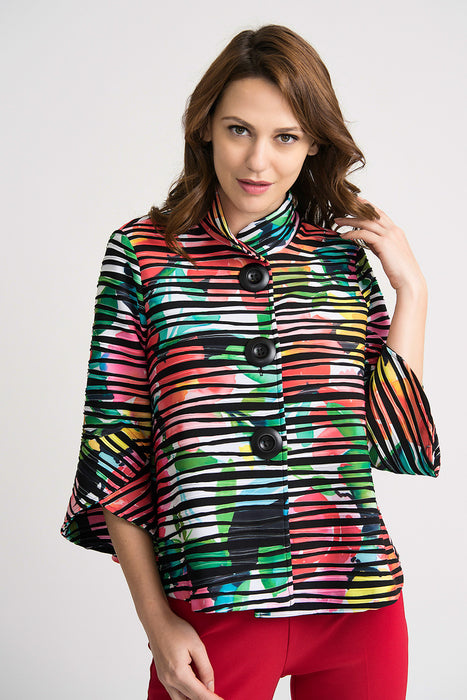 Joseph Ribkoff Style 202355 Multicolor Floral Striped Tulip Sleeve Cover-Up Jacket