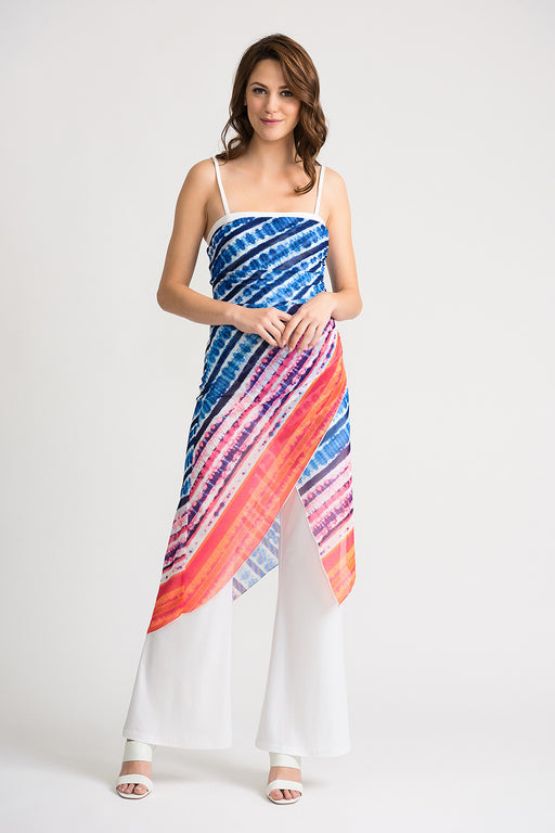 Joseph Ribkoff Style 202358 Vanilla Multicolor Abstract Print Overlay Flared Jumpsuit