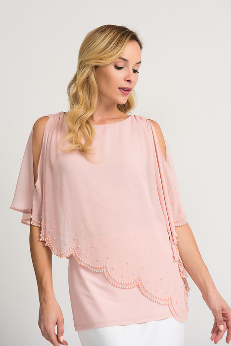 Joseph Ribkoff Style 202362 Rose Pearl Accent Sheer Overlay Cold Shoulder Tunic Top