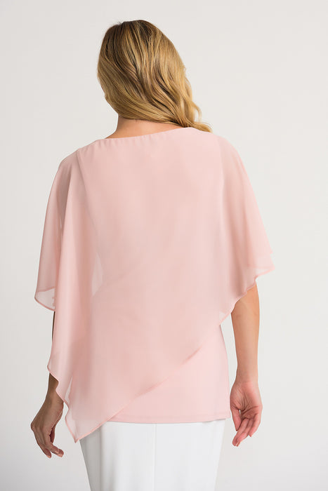 Joseph Ribkoff Rose Pearl Accent Sheer Overlay Cold Shoulder Tunic Top 202362 NEW