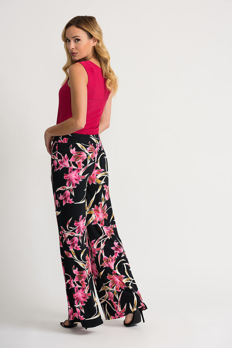 Joseph Ribkoff Black/Multi Floral Print Slip-On Palazzo Pants 202368 NEW