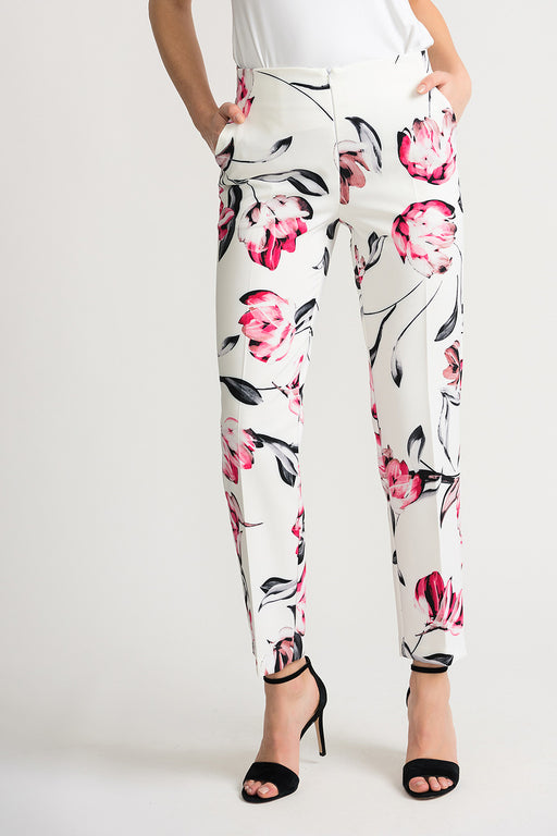 Joseph Ribkoff Style 202370 Off-White Multicolor Floral Print Pleated Cropped Pants
